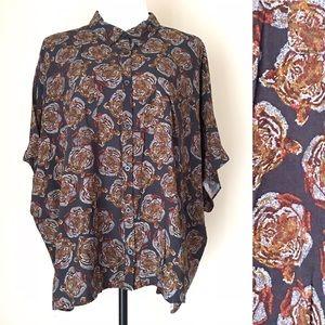 LULAROE Amy Dolman Sleeve Button Top Tiger Print